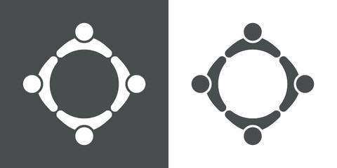 Icono plano circulo personas gris y blanco