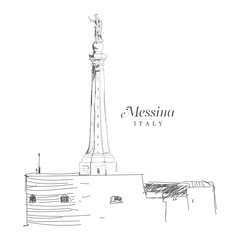 Freehand digital drawing of Messina, Italy