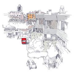 Urban sketch of Mecidiyekoy district of Istanbul