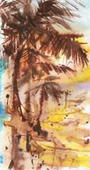 Watercolor sun exotic landscape. Painting tropical palm background. Hand drawn abstract illustration