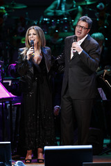 """Musicians Rita Wilson and Vince Gill perform during the benefit """"Songs From the Silverscreen"""" to raise funds for The Rainforest Trust at Caregie Hall in New York"""
