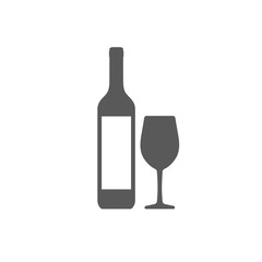 Wine bottle with wineglass icon isolated