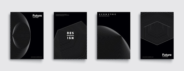 Minimal dark covers set. Future geometric design. Abstract 3d meshes. Eps10 vector.