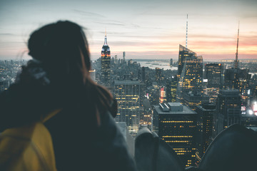 Girl enjoying Manhattan Sunset View - New York
