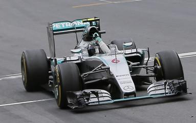 Mercedes driver  Rosberg celebrates taking chequered flag to win the Austrian F1 Grand Prix in Spielberg