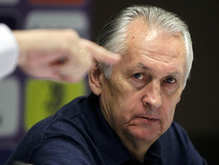 Ukraine's national soccer team head coach Fomenko attends a news conference in Kiev