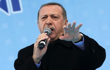 Turkey's PM Erdogan addresses crowd during opening ceremony of new metro line in Ankara