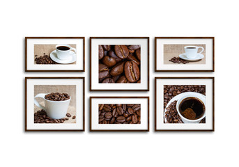 Collage of six wooden frames with coffee motif pictures, coffee shop interior design idea