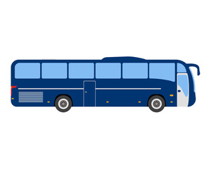 Bus flat icon and logo. Cartoon Vector illustration