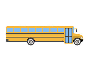 School Bus flat icon and logo. Cartoon Vector illustration
