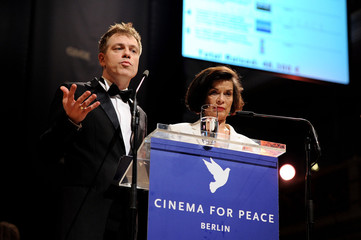 "Michael Mittermeier and Bianca Jagger speak at the ""Cinema for Peace 2012"" charity gala during the 62nd Berlinale film festival in Berlin"