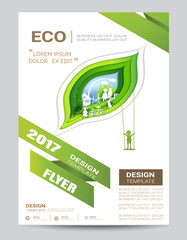 Eco brochure design vector template. Corporate poster with family