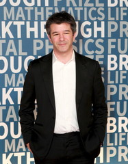 Entrepreneur Travis Kalanick arrives to attend the Breakthrough Prize ceremony in Mountain View