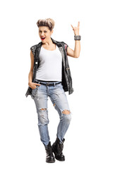 Punk girl making a rock hand gesture