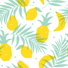 seamless yellow fruits pattern vector illustration