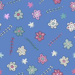 Cute childish floral seamless pattern, vector. Good for children's goods, print on fabric, decor for a children's room, wallpaper, wrapping paper, gadgets, toys and more