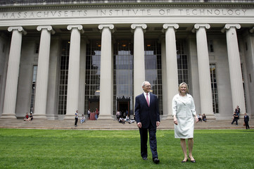 Massachusetts Institute of Technology President-elect L. Rafael Reif and his wife, Christine pose for photographers at Massachusetts Institute of Technology in Cambridge
