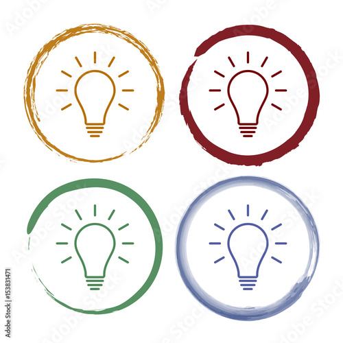 Pinselstrich Icon Set - Glühlampe - Idee\