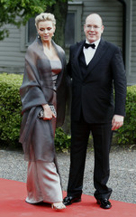 Prince Albert of Monaco and Charlene Wittstock arrive for a Government dinner at the Eric Ericson Hall in Skeppsholmen