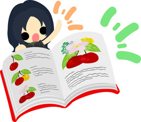 A cute little girl and a dictionary of cherry