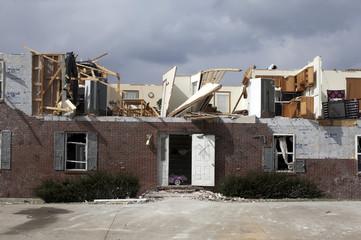 A home lies in ruins in Crittenden, Kentucky