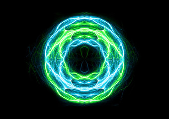 Blue and green ball lightning, abstract electric background
