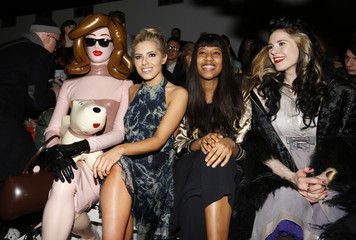 Conceptual artist Pandemonia, together with musicians Mollie King, VV Brown, and Kate Nash sit in the front row at the Felder & Felder Autumn/Winter 2013 collection during London Fashion Week