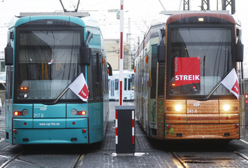 Trams are parked in the depot during a warning strike of the service sector union Verdi in Frankfurt