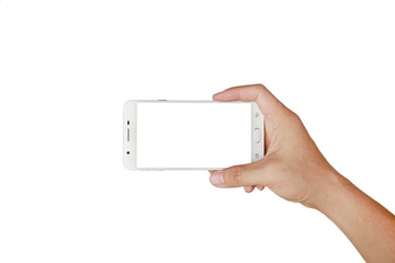 Hand holding mobile smartphone with white screen. Mobile photography concept. Isolated on white.
