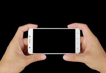 Hand holding mobile smartphone with black screen. Mobile photography concept. Isolated on black.