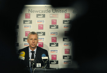 Newcastle United's new coach Alan Pardew speaks during a news conference in Newcastle, northern England