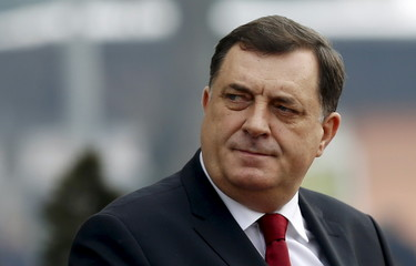 Milorad Dodik, president of the Republika Srpska, looks on during Serbian Prime Minister Aleksandar Vucic's official visit to Banja Luka
