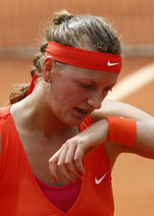 Kvitova of the Czech Republic reacts during her match against Li Na of China at the French Open tennis tournament at the Roland Garros stadium in Paris