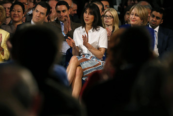 Samantha Cameron the wife of Britain's Prime Minister and leader of the Conservative Party David Cameron applauds during his keynote speech at the party's spring forum in Manchester