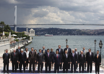 Southeast European leaders pose for a family photo during the Southeast European Cooperation Process Summit in Istanbul