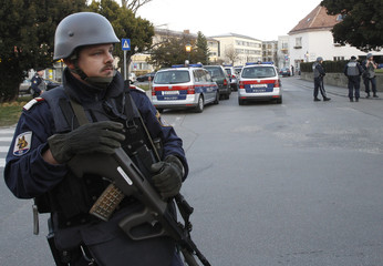 Police secure the site of a hostage taking in a local administration building in Klosterneuburg
