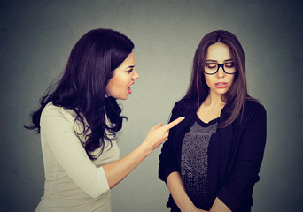 Angry woman scolding her scared shy young sister or friend