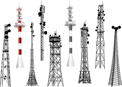 group with nine antenna towers on white
