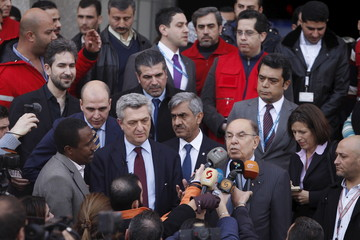 New United Nations High Commissioner for Refugees Filippo Grandi talks to media upon his arrival to the Red Crescent headquarters in Damascus