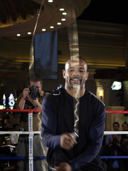 Light heavyweight boxer Jones Jr. of the U.S. jumps rope during a workout for media and fans at the Mandalay Bay Resort & Casino in Las Vegas