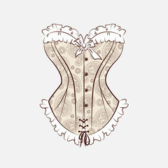 Vector illustration with magnificent corset which is embroidered with paisley ornament.