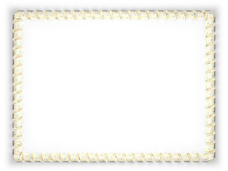 Frame and border of ribbon with the state Rhode Island flag, USA. 3d illustration