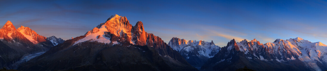 Panorama of the Alps near Chamonix during sunset. Chamonix, France.