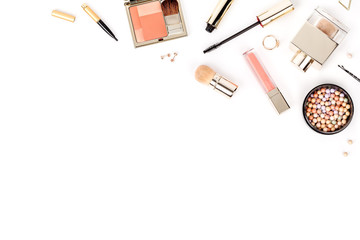set of professional decorative cosmetics, makeup tools and accessory isolated on white background with copy space for your text. beauty, fashion and shopping concept. flat lay composition, top view