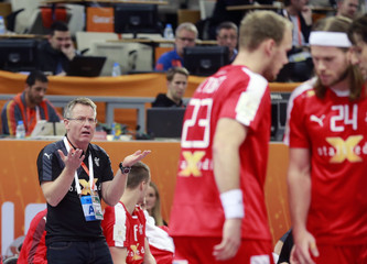 Coach Gudmunsson of Denmark reacts during their preliminary round of the 24th men's handball World Championship match against Argentina in Doha
