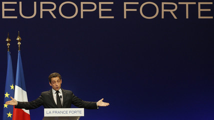 France's President and UMP party candidate for the 2012 French presidential elections Sarkozy delivers a speech at a political rally in Strasbourg