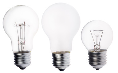 three incandescent electric lamps isolated on white