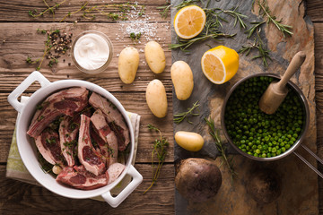 Ingredients for the preparation of lamb ribs