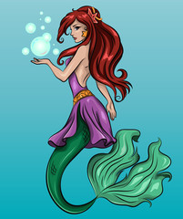 The image of a beautiful young mermaid with bubbles. Vector illustration
