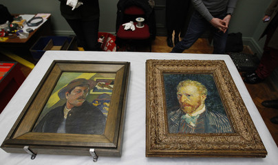 Self-portraits by artists Gaugin and Van Gogh are displayed for photographers at the Lady Lever Art Gallery in Port Sunlight, northern England